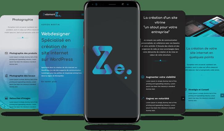 Mockup smartphone Ux design Z-element Création de site vitrine à Montpellier