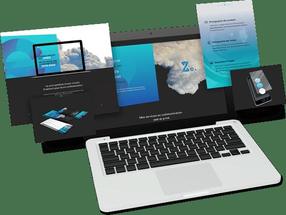 Mockup laptop gris Z-element Création de site vitrine à Montpellier