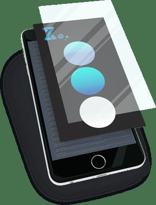 Mockup smartphone intégration identité visuelle Z-element Création de site vitrine à Montpellier