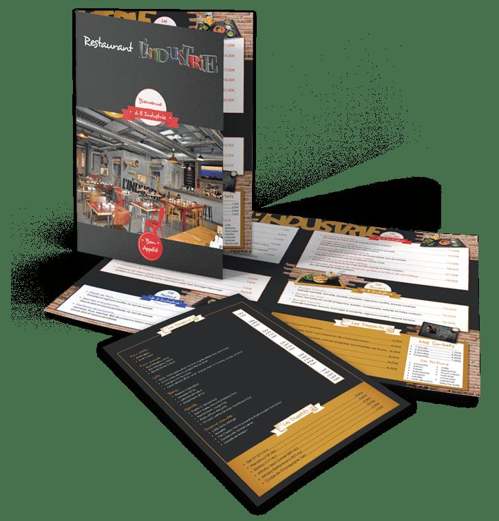 Mockup Restaurant L'Industrie -  Portfolio web et print de Z-element spécialiste en création de site internet sur WordPress